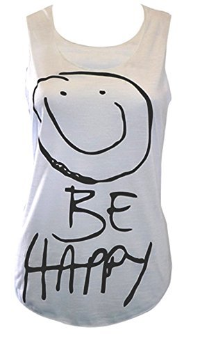 Smiley 'Be Happy' Slub Top Sleeveless, Weiß, 40