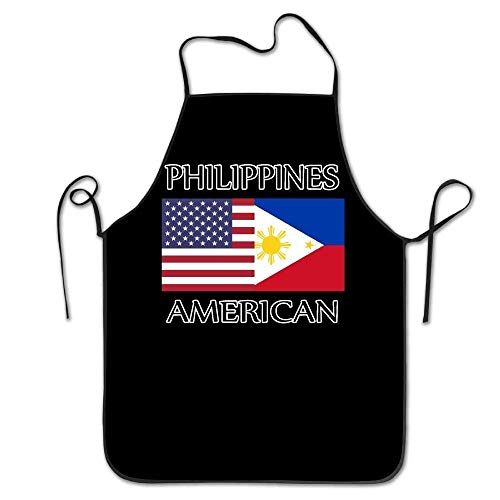 Outcomfy Philippines American Flag Unisex Kitchen Bib Apron Barbershop Tea Shop with Adjustable Neck Chef's Apron