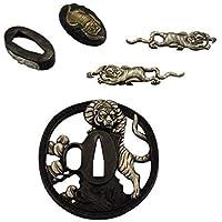 Piezas de la espada 5-teilig Diseño de tigre con Tsuba, Fuchi, Kashira y Menuki