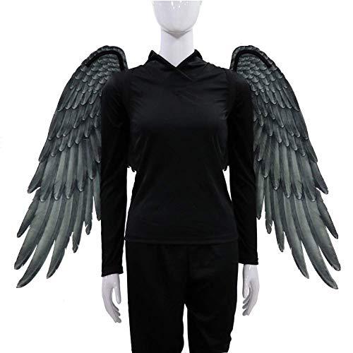 Für Kostüm Erwachsene Engelsflügel - BriskyM Fee Flügel, Extra große 3D Print Feder Halloween Fee Engelsflügel für Kind Erwachsene Engelsflügel Kostüm Fee Feder für Halloween Party Zubehör (Schwarz, Erwachsene)