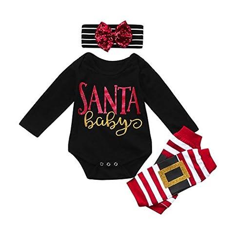 Kinderbekleidung Ausstattung Hirolan Kindermode Strampler 3 Stück Säugling Baby Beschriftung Weihnachten Spielanzug Bein Wärmer Bogen Stirnband Lange Ärmel Overall Outfit Set (100cm, Schwarz)