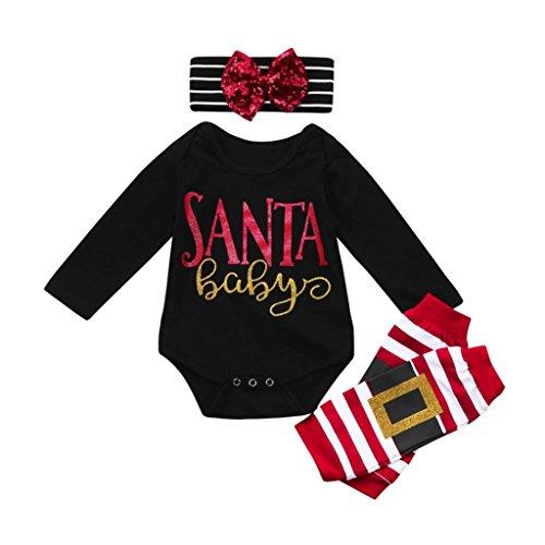 Kinderbekleidung Ausstattung Hirolan Kindermode Strampler 3 Stück Säugling Baby Beschriftung Weihnachten Spielanzug Bein Wärmer Bogen Stirnband Lange Ärmel Overall Outfit Set (70cm, Schwarz)