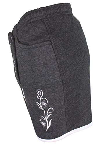 Kurze Damen Lederhosen Jogginghose Bestickt, 3x große Hosentaschen - flauschig weich - Damen Trachten-Hose für Oktoberfest oder Alltag - Bayrische Hose in Lederhosenoptik Dunkelgrau