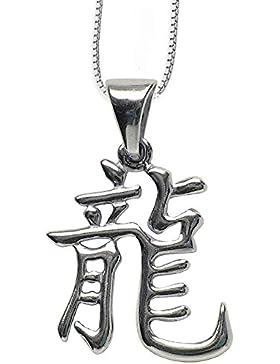 Chinesisches Sternzeichen Drache Anhänger Amulett aus 925er Silber mit Kette Halskette Silberkette Schmucksäckchen...