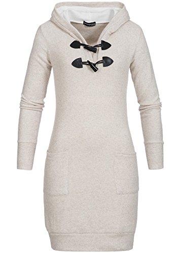 Violet Fashion Damen Kapuzenpulli lang mit Knebelverschluss und 2 Taschen, beige melange, Gr. XL