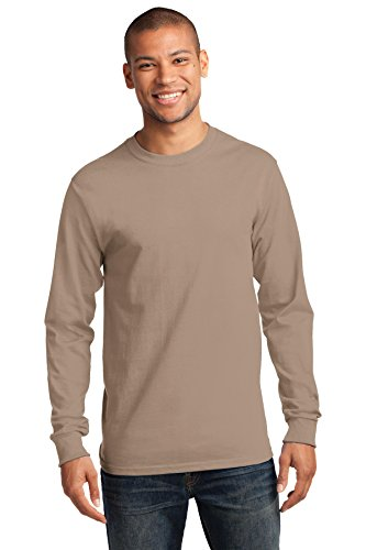Port & Company Herren Port & Company Long Sleeve Essential T-Shirt Sand