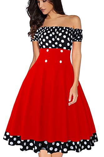 Rot Polka Dot Baumwolle Kleid (Axoe Damen Schulterfrei Kleid 1950er Vintage Polka Dots Schwarz mit Rot Sommerkleider Gr.36)