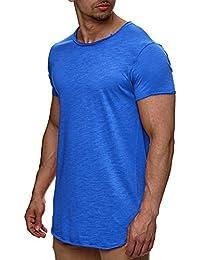 S!RPREME Hombre Oversized Camiseta Manga Corta Polo T-shirt Slim Fit Longline Negro
