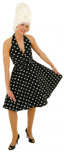 Sale Kleid der 70er Jahre, schwarz-weiß, Gr. 44