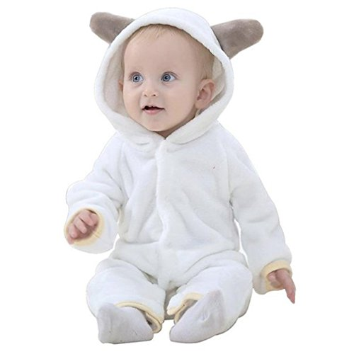 MICHLEY Bebé ropa Niños Niñas disfraces primavera Franela Traje animales Pelele(90cm(13-18meses),Blanco)