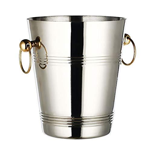 YLYWCG Edelstahl Eiskübel, Eiskübel Champagner, Weinkühler Camping Getränke Eimer Kühler Tragegriff (Size : 5L 20x23cm(8x9inch))