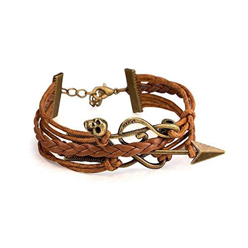 Frauen Braun Leder Armband Vintage Jewelry Musik Note Sourcingmap Pfeil Gürtel Armreif Armband (Pfeil-leder-gürtel)