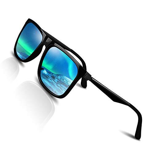 CHEREEKI Polarisierte Sonnenbrille UV400 Retro Vintage Brille für Herren und Damen (Blau) - Sport Brille über Brille