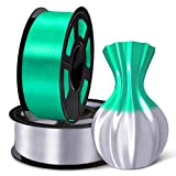 SUNLU 3D Filament 1.75, Shiny Silk PLA Filament 1.75mm, 2KG PLA Filament 0.02mm for 3D Printer 3D Pens,Silver + Green
