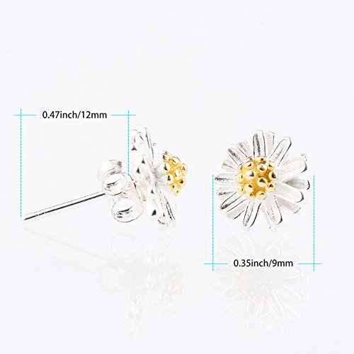 TONVER 925 Sterling Silver Daisy Flower Stud Earrings for Girls Womens Gifts