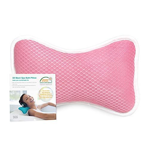 CoastaCloud Badewannenkissen mit 2 Saugnäpfen Nackenkissen aus Polyester Schnelles Trocknen Einfache Reinigung - Komfort Badekissen (Rose)