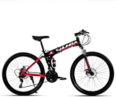 LETFF Bicicleta Plegable para Adultos, Amortiguación Doble De Velocidad Variable De 24 Pulgadas, Bicicleta