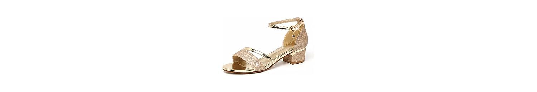 ZFYSS Sandalias De Verano Salvaje Medio Tacón Hebillas Aspero Y Bare Toes Zapatos De Mujer De Roma.Treinta Y Seis... -
