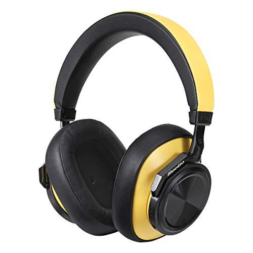 Bluedio T6S Auricular Bluetooth 5.0 con micrófono, cancelación de Ruido y Control de Voz Servicio de, Auricular inalámbrico estéreo de para Llamadas, 32 Horas de Tiempo de Reproducción(Amarillo)