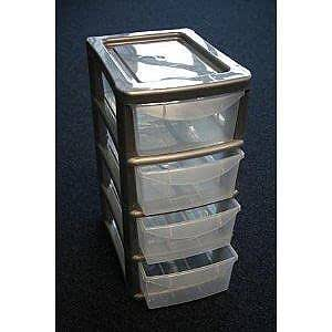 4 Large Drawer Plastic Storage Unit Silver by Thumbs Up