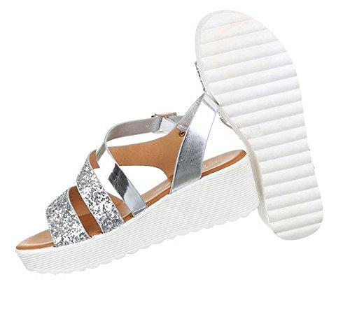 Damen Sandalen Schuhe Sandaletten Schwarz Silber