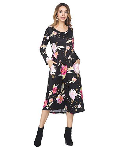 FeelinGirl Damen Lange Kleid Kleider Sommerkleider Maxikleider Blumenkleid Blumedrucken Strandkleid Rock mit Böhmen, M (EU 38-40), Mehrfarbing - Sommer Bestickt Rock