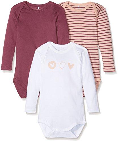 NAME IT Baby-Mädchen Body Nmfbody 3P LS Dry Rose Noos, 3er Pack, Mehrfarbig (Dry Rose), 80