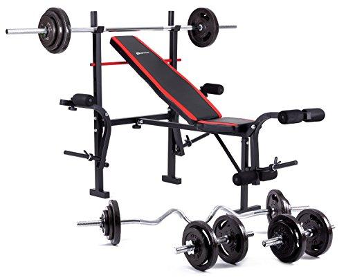Hop-Sport zusammenklappbare Hantelbank HS-1055 mit Butterfly und Beincurler Inkl. Guss Gewichte 61 kg - 129 kg zur Wahl Lang- , Curl- & Kurzhantelstange (84 kg, SZ-Curlhantel)