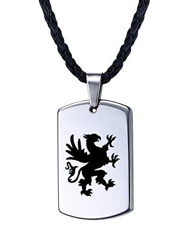 Vnox Herren Hartmetall Grandiose Griffin Gravierte Heavy Dog Tag Anhänger Halskette - Batman Halskette Tag Dog