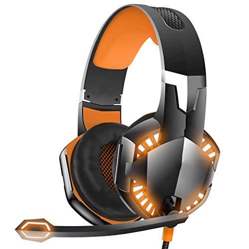 OPmeA LED-Stereo-Gaming-Headset für PS4, PC, Xbox One Kabelgebundener Surround-Sound-Kopfhörer mit Noise Cancelling-Mikrofon (Farbe : Orange) (Razor Surround-sound)