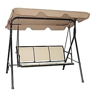 costway hollywoodschaukel gartenschaukel schaukelbank gartenliege mit sonnendach 3. Black Bedroom Furniture Sets. Home Design Ideas
