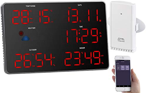 infactory WLAN Funk Wetterstation: Design-WLAN-LED-Wetterstation mit Außensensor, Wettersymbolen, WLAN (Jumbo Uhren)