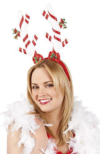 erdbeerclown - Kopfschmuck Geweih Zuckerstange Weihnachten, Weiß Rot