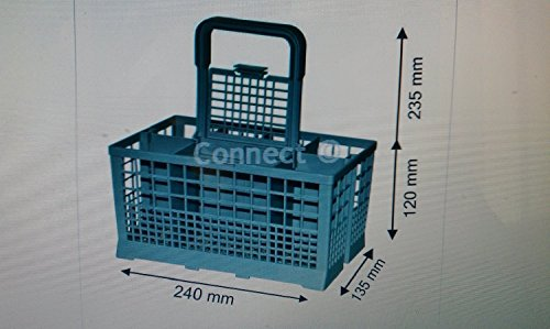 Lavastoviglie posate cestino/lavastoviglie cesto con manico staccabile-taglia h senza manico (120mm) h con maniglia (235mm) x 240mm (l) x d (135mm) per zanussi meile bosch beko hotpoint creda