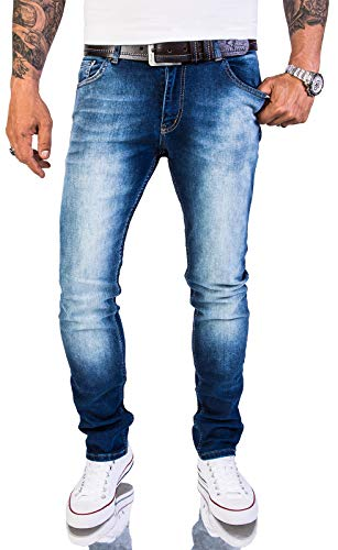Rock Creek Herren Jeans Hose Slim Fit Stretch Jeans Herrenjeans Herrenhose Denim Stonewashed Blau Raw RC-2151 Super Washed W34 L30 -