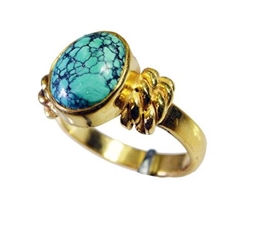 sublime turchese di rame anello di pietra preziosa del turchese l-1in (Rame Pietra Preziosa Del Turchese)