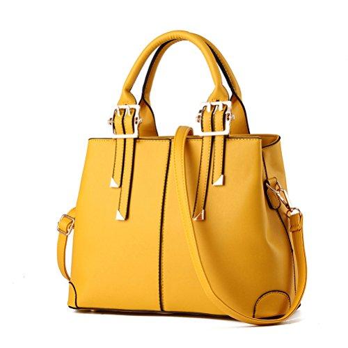 Honeymall Damen Faux Leder Shell Stil Handtaschen Große Frauen Schultertaschen(Gelb) Gelb