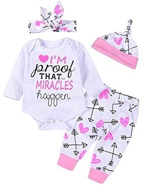 Lylita 4pcs Bambino neonato lettera freccia rompers tuta pantaloni abiti set