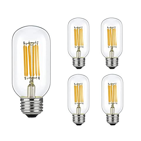 Bogao E27 6W Non-Dimmable Edison Style Antique LED Filament Tubular Light Bulb, 3000K Warm White 650LM, E27 Medium Base Lamp, T14(T45) Tubular Shape, 65W Incandescent Equivalent, ( 4 Pack 3000K )