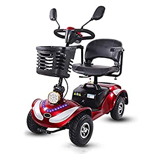 HOPELJ 4 Wheeled Electric Mobility Scooter,Travel Mobility Scooter Foldable - 270W 20AH Lead Acid Battery 21.7 ?iles Range,Red,Pneumatictire