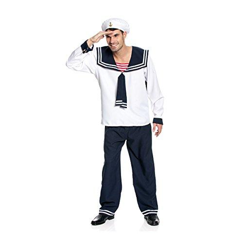 Seemann Kostüm Herren Marine - Kostümplanet® Matrosen-Kostüm Herren Kostüm Matrose Marine Seemann mit Matrosen-Mütze Größe 52/54