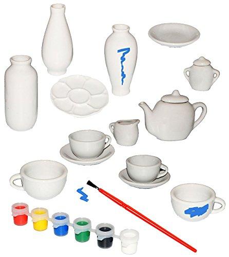 Bastelset: 17 tlg. Set _ Puppengeschirr / Spielzeuggeschirr & Vasen - weiß - zum selbst Bemalen -...