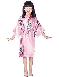 Amur Leopard Enfant Kimono Robe de chambre en soie Peignoir Motif Exotique Paon Fleur pyjama Fille Kimono Exotique Paon Fleur Peignoir de bain pyjama