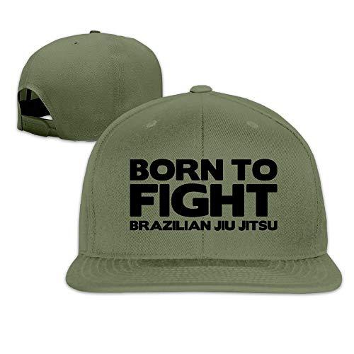 Born to Fight Brazilian Jiu Jitsu Washed Unisex Flat Bill Visor Hip-Hop Hat (Anime Flat Hats Bill)