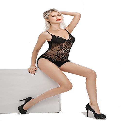 MEREDENG Sexy Body Lingerie Erotische Unterwäsche Sexy Spitze Polka Dot Backless Appeal Schwarz_XL