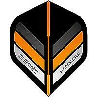 Hardcore nieve en negro y naranja con diseño de rayas de perfil Extra ancho de plumas estándar para dardos - 5 unidades (15 dardos en total) y tarjeta de comprobación Red Dragon