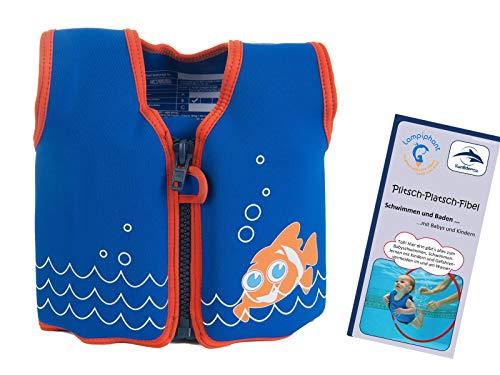 Lampiphant Konfidence Kinder-Schwimmweste aus Neopren, Edition mit Plitsch-Platsch-Fibel, 1,5-3 Jahre, Clownfisch