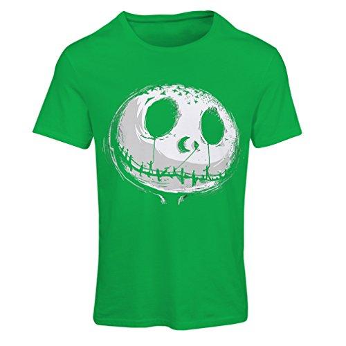 Frauen T-Shirt beängstigend Schädel Gesicht - Alptraum - Halloween-Party-Kleidung (XX-Large Grün Mehrfarben)