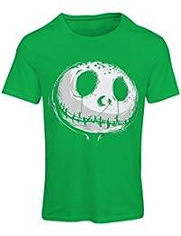 lepni.me Camiseta Mujer cráneo asustadizo Cara - Pesadilla - Ropa de Fiesta de Halloween