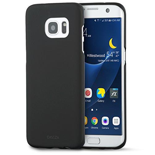 """CASEZA Samsung Galaxy S7 Edge Hülle Case Back Cover """"Rio"""" mit mattem Finish - Schwarz - Premium Hardcase Bumper mit gummierter Oberfläche für angenehme Haptik - Hochwertige Schutzhülle Ultra Slim"""